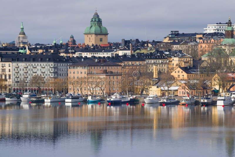 Oud Stadsdistrict, Maart-middag Stockholm, Zweden stock foto's