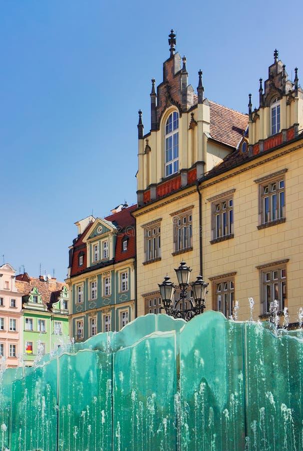 Oud stadsvierkant, Wroclaw, Polen stock foto's