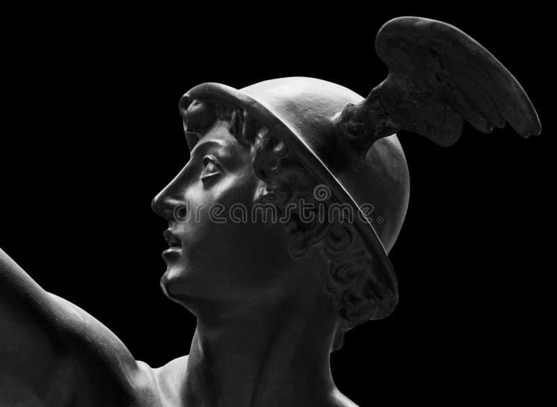 Oud standbeeld van de antieke god van handel, handelaars en reizigers Hermes - Mercury Hij is alsow olympische goden stock afbeeldingen