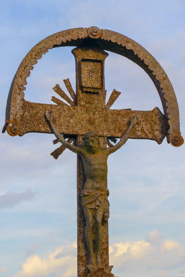 Oud standbeeld van Jesus Christ, Christelijk godsdienstig thema stock fotografie