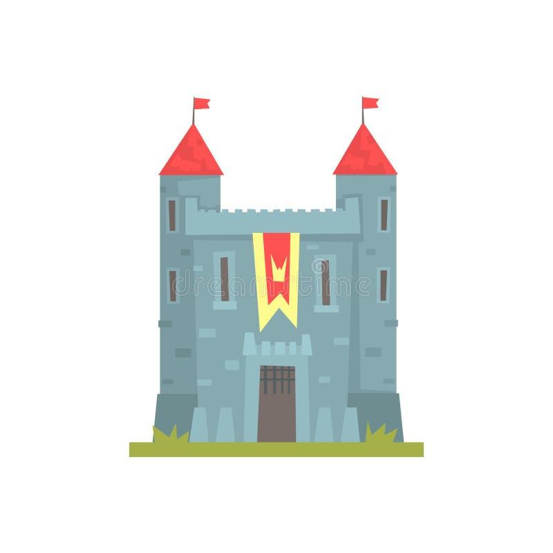 Oud steenkasteel met torens, oude architectuur die vectorillustratie bouwen royalty-vrije illustratie