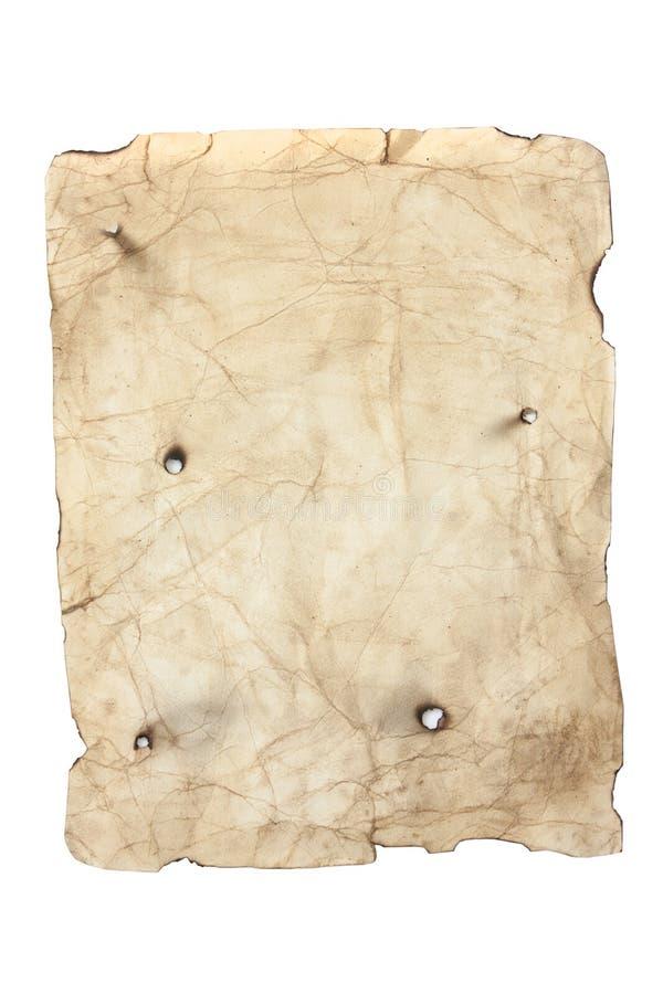 Oud stijl geel document met kogelgaten royalty-vrije stock fotografie