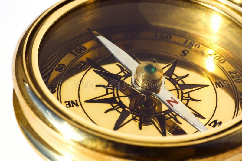 Oud stijl gouden kompas royalty-vrije stock afbeeldingen