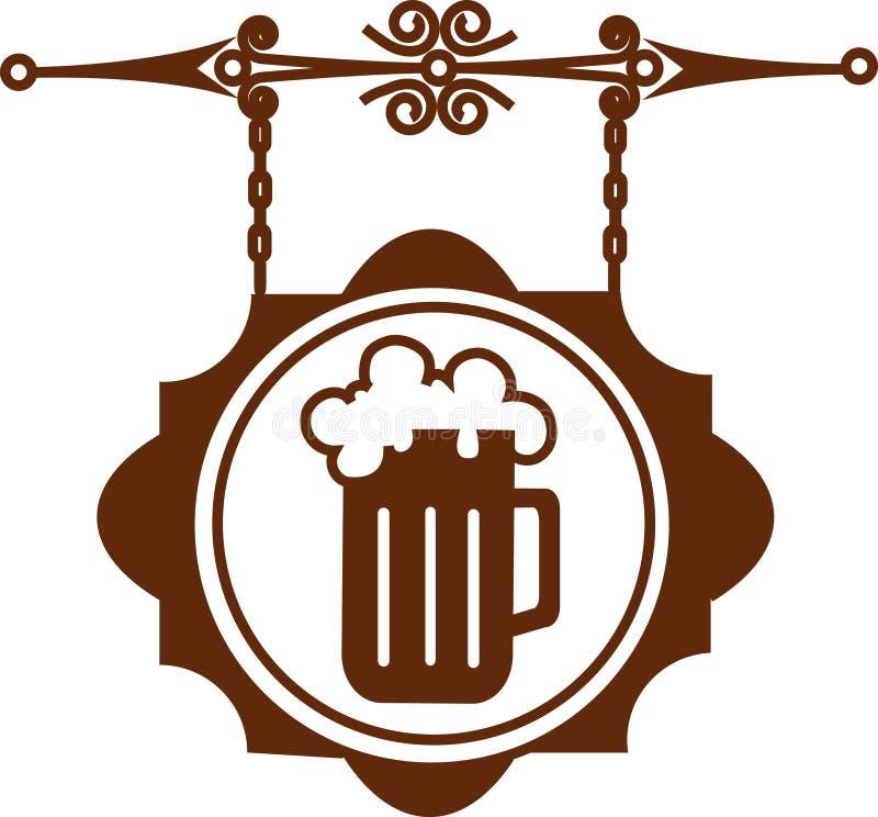 Oud straatuithangbord van bierhuis of staaf-1 stock illustratie