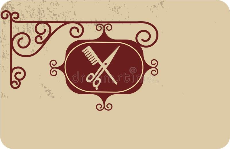 Oud straatuithangbord van kapper stock illustratie