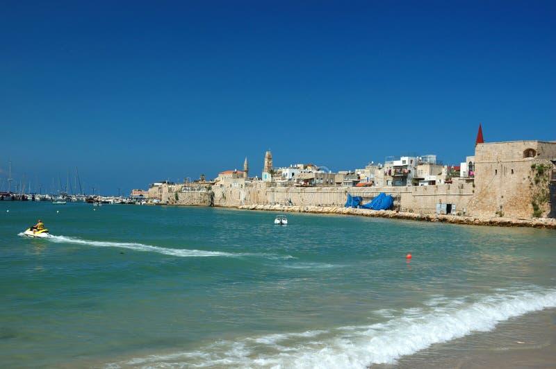 Oud strand Akko - beroemde oude stad van Israël stock afbeeldingen