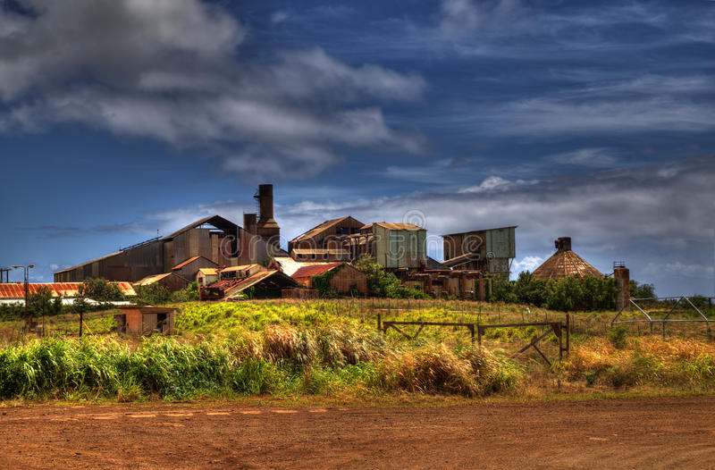 Oud Sugar Mill van Koloa stock foto