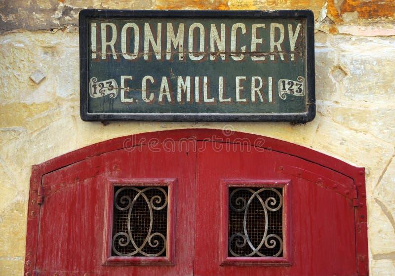 Oud teken, Valletta, Malta. stock afbeelding