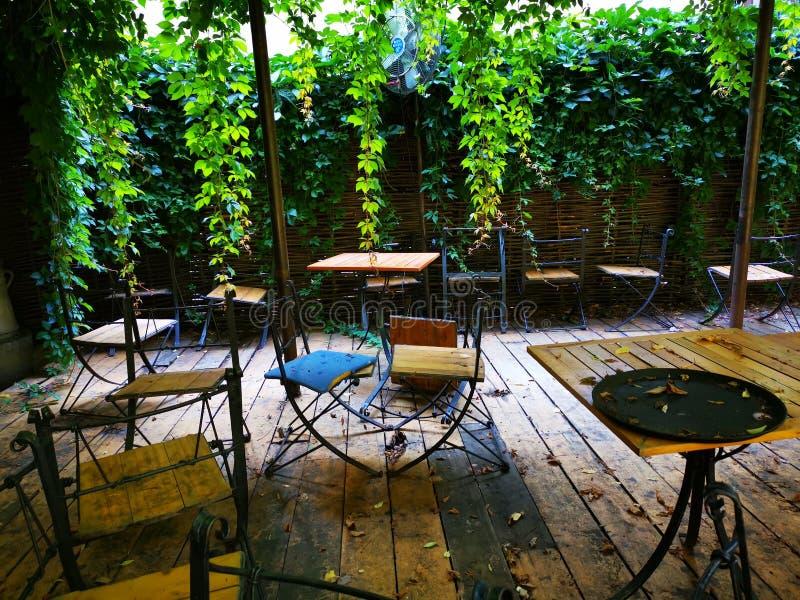 Oud terras - houten lijst en stoelen stock foto's