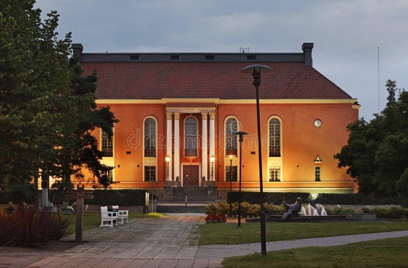 Oud theater in Kokkola finland stock afbeeldingen