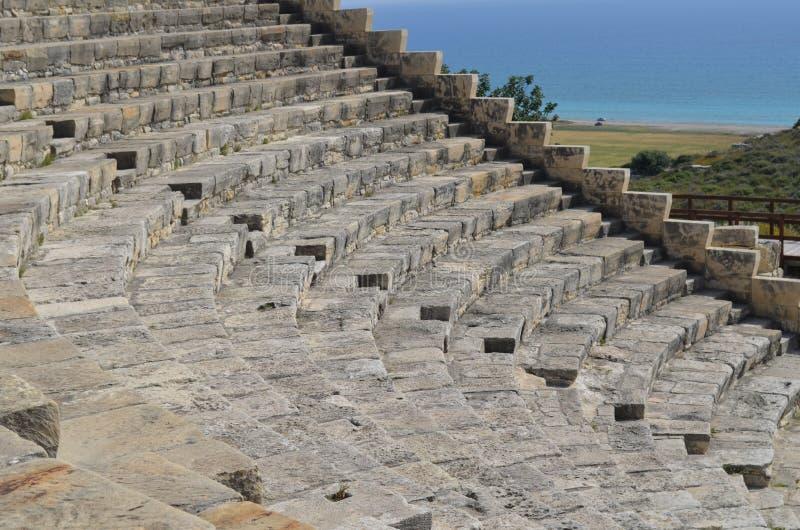 Oud Theater, Kourion dichtbij Limassol, Cyprus stock afbeeldingen