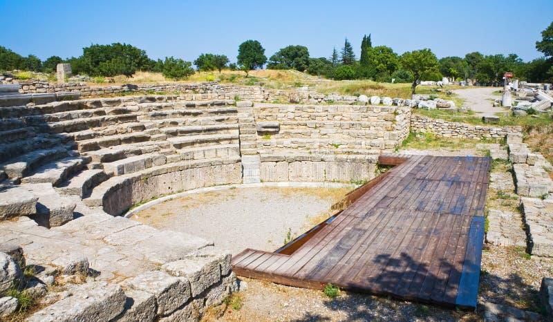 Oud theater in legendarische Troy royalty-vrije stock foto's