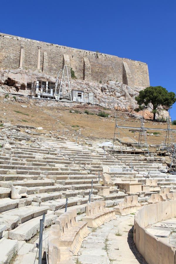 Oud Theater van Dionysus stock foto's