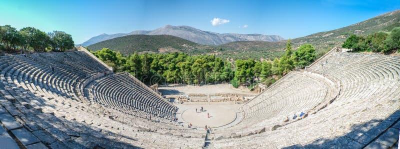 Oud Theater van Epidaurus, Griekenland royalty-vrije stock foto