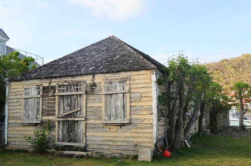Oud traditioneel huis in Gustavia bij St Baronets royalty-vrije stock foto's