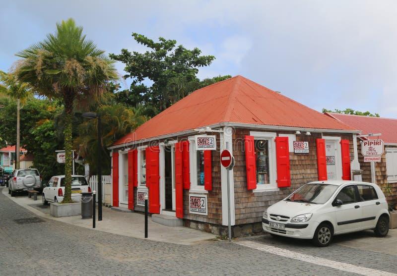 Oud traditioneel huis in Gustavia bij St Baronets royalty-vrije stock fotografie