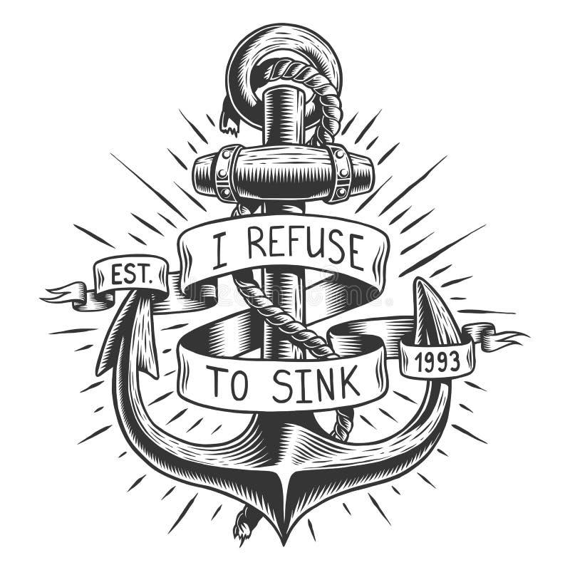 Oud uitstekend anker met kabel en lint vector illustratie