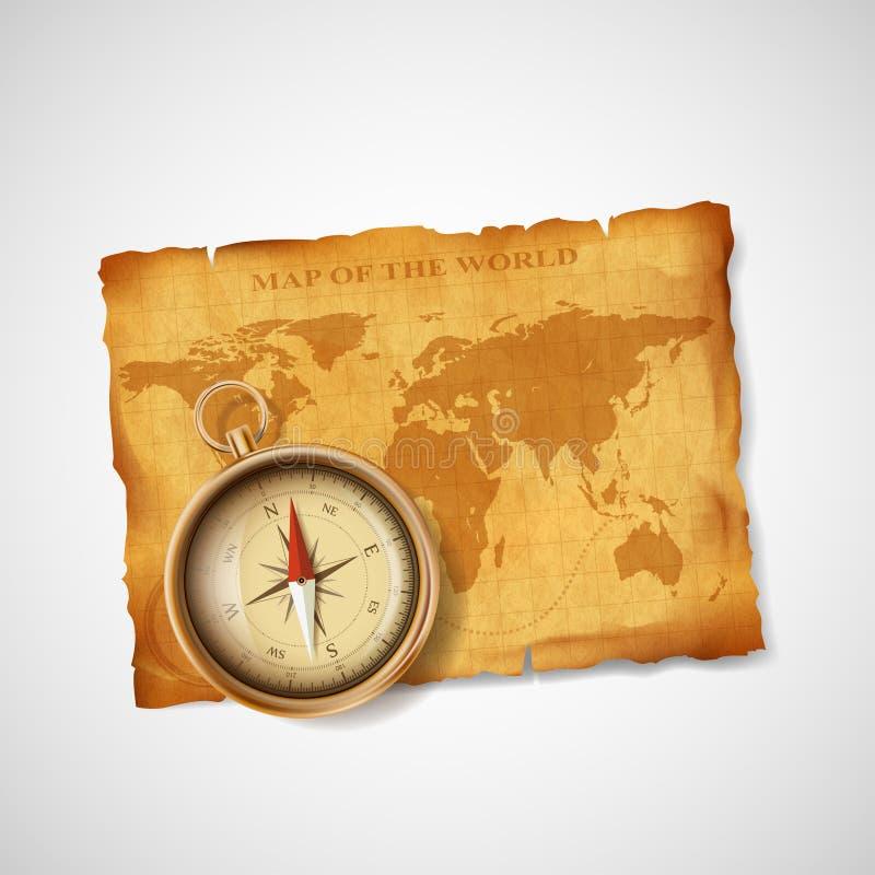 Oud uitstekend antiek wereldkaart en kompas voorraadillustra vector illustratie