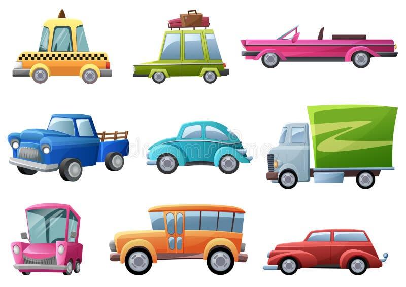 Oud, uitstekend, beeldverhaal retro auto's geplaatst vector geïsoleerde illustratie stock illustratie