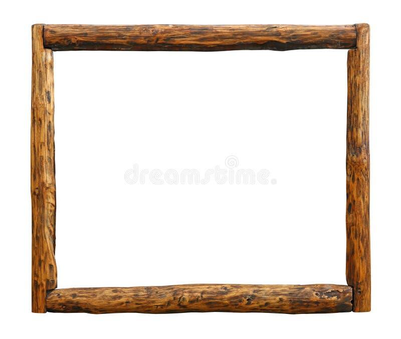 Oud uitstekend de grenskader van het grunge houten logboek royalty-vrije stock foto