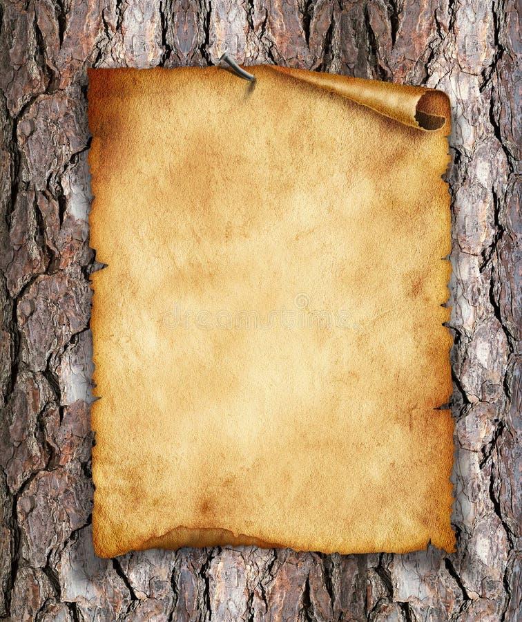 Oud, uitstekend document op hout. Originele achtergrond of textuur royalty-vrije stock foto
