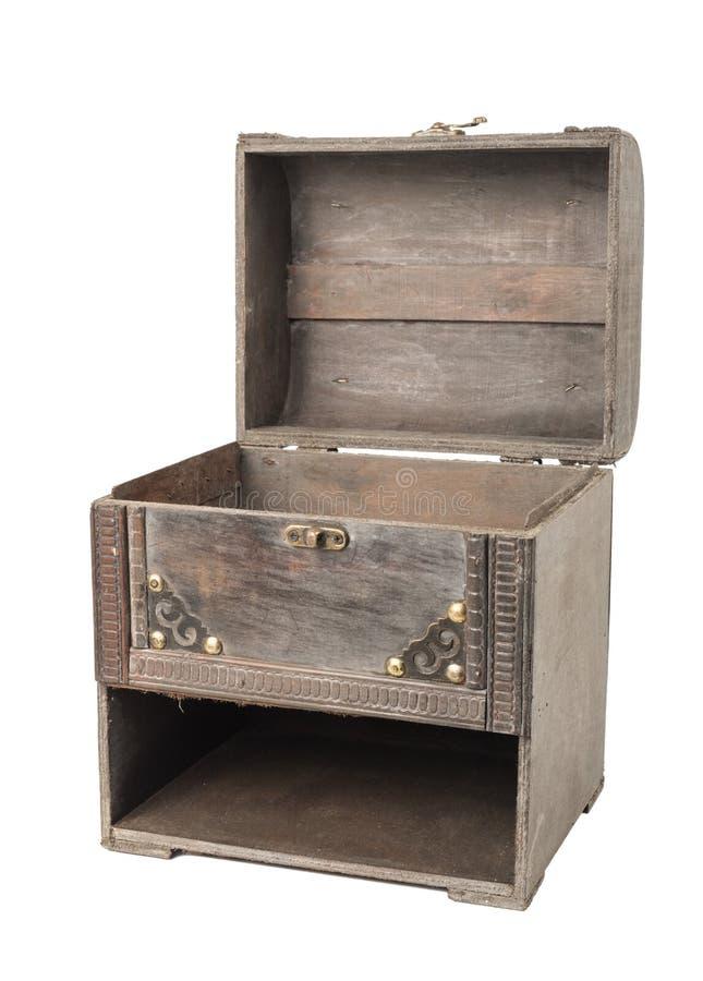 Oud uitstekend houten geval met geopend hoofd stock foto's