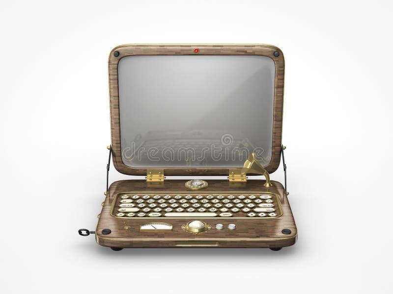 Oud Uitstekend Laptop Pictogram Stock Fotografie