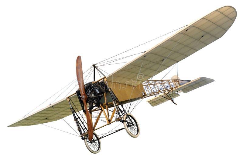 Oud uitstekend monovliegtuig met een houten propeller stock foto