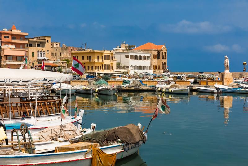 Oud oud van de Zuid- bandsur van de havenhaven Libanon stock afbeeldingen