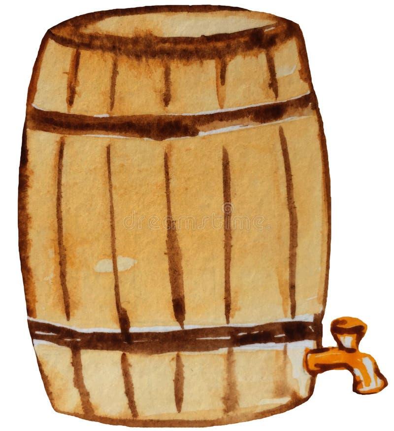 Oud vat bier met een kraan Waterverfillustratie voor ontwerp stock illustratie