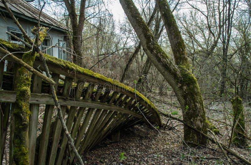 Oud verlaten buitenhuis in de uitsluitingsstreek Gevolgen van de kernramp van Tchernobyl royalty-vrije stock fotografie