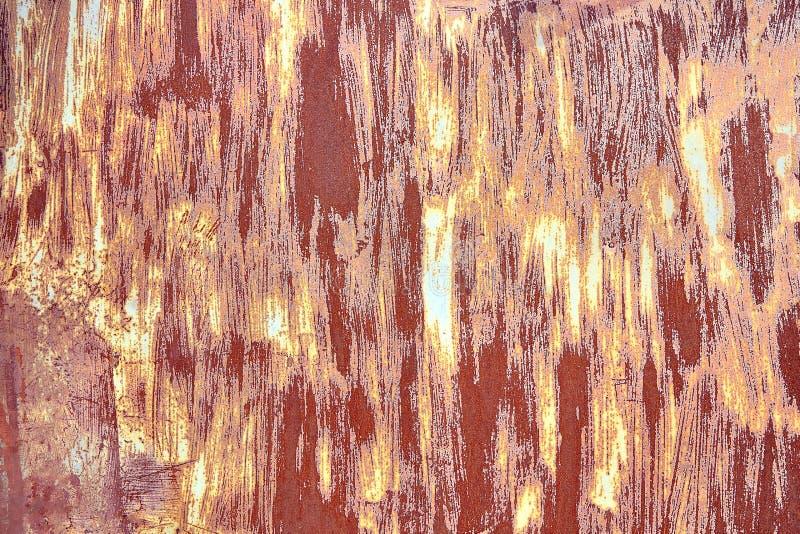 Oud Verontrust Bruin Terracottakoper Rusty Background met Ruwe Textuur Multicolored Opneming Bevlekte Gradiënt stock afbeelding