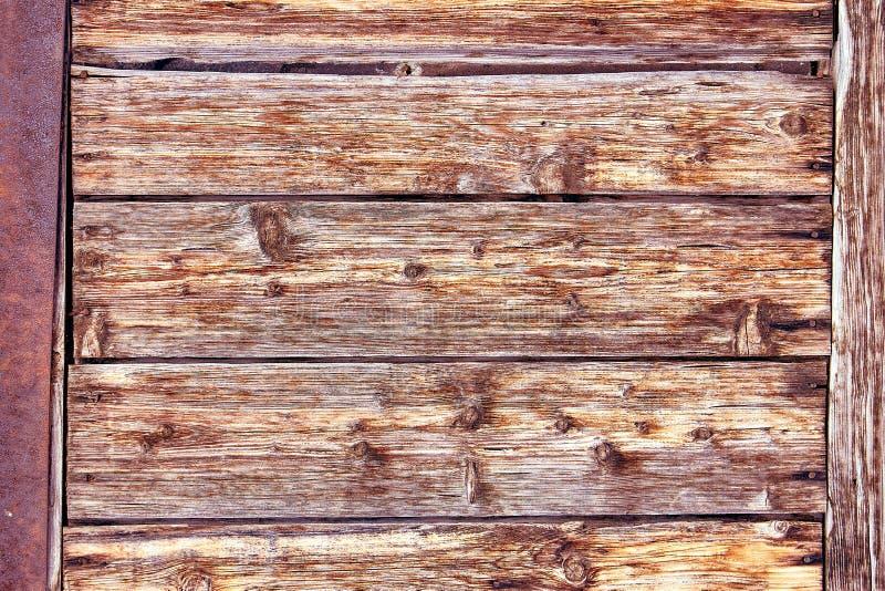 Oud Verontrust Bruin Terracottakoper Rusty Wooden Background met Ruwe Textuur Multicolored Opneming bevlekt stock foto's