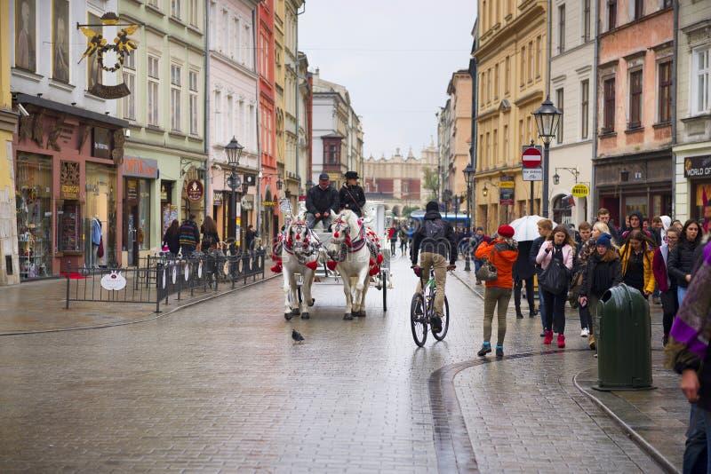 Oud vervoer in modern Krakau royalty-vrije stock afbeeldingen