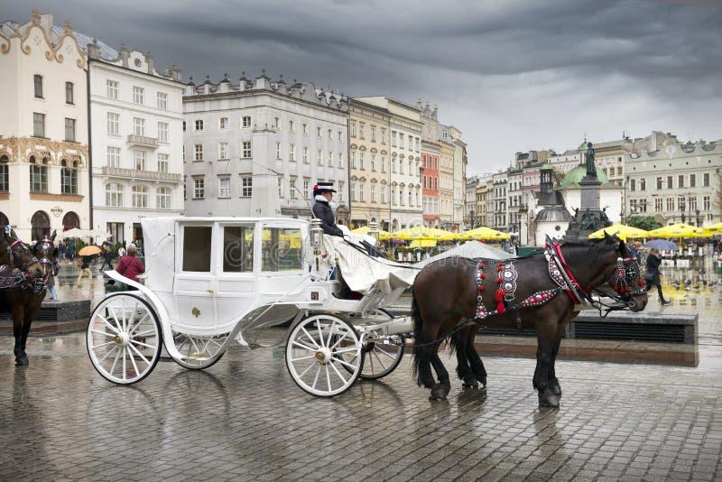 Oud vervoer in modern Krakau royalty-vrije stock foto