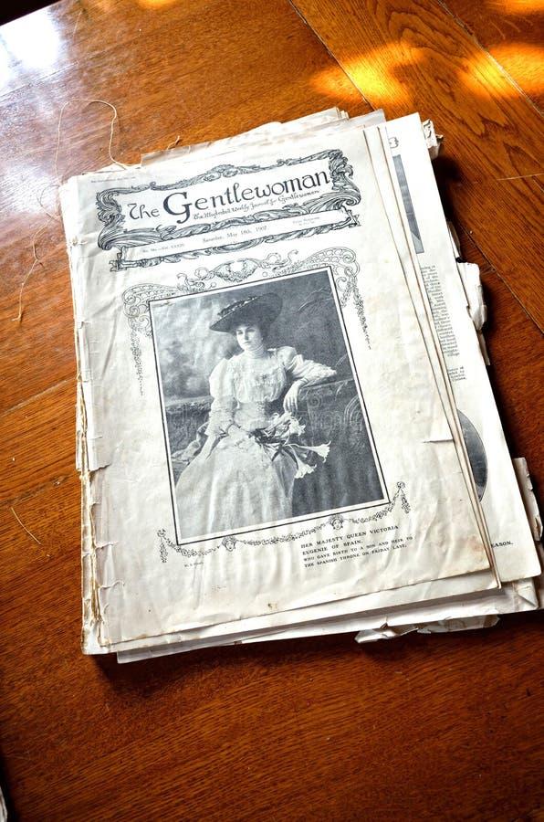 Oud Victoriaans geïllustreerd dagboek - Gentlewoman royalty-vrije stock foto
