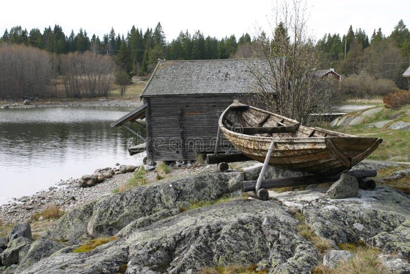 Oud visserijdorp royalty-vrije stock afbeeldingen
