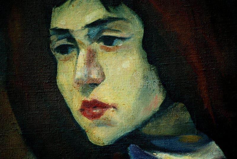 Oud vrouwelijk portret op een ruw canvas, het schilderen vector illustratie