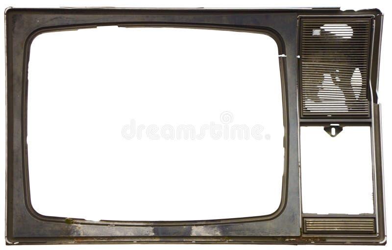 Oud vuil frame van gebroken TV stock afbeeldingen