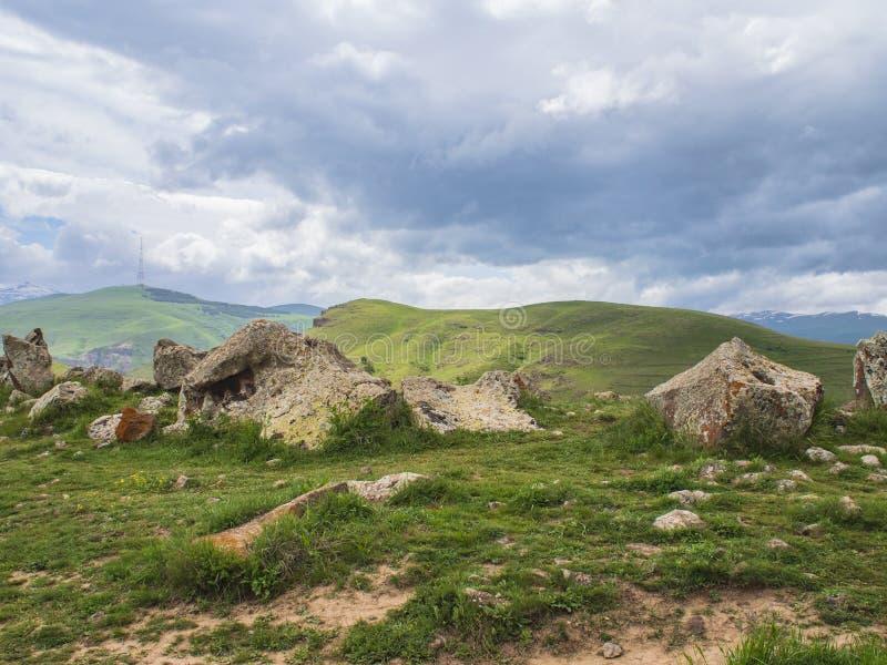 Oud Waarnemingscentrum van Zorats Karer, Karahunj, Beroemde Armeense Stonhenge in Sisian, Armenië 2 royalty-vrije stock foto's
