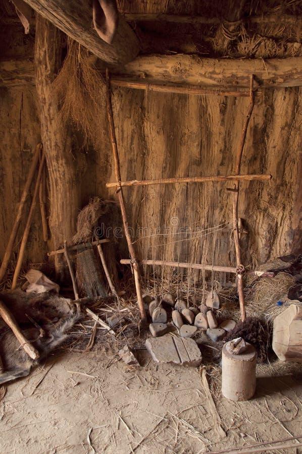 Oud weefgetouw van de Bronstijd stock afbeeldingen