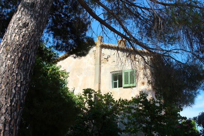 Oud wit huis met venster met groene blinden in Saint Tropez royalty-vrije stock afbeeldingen