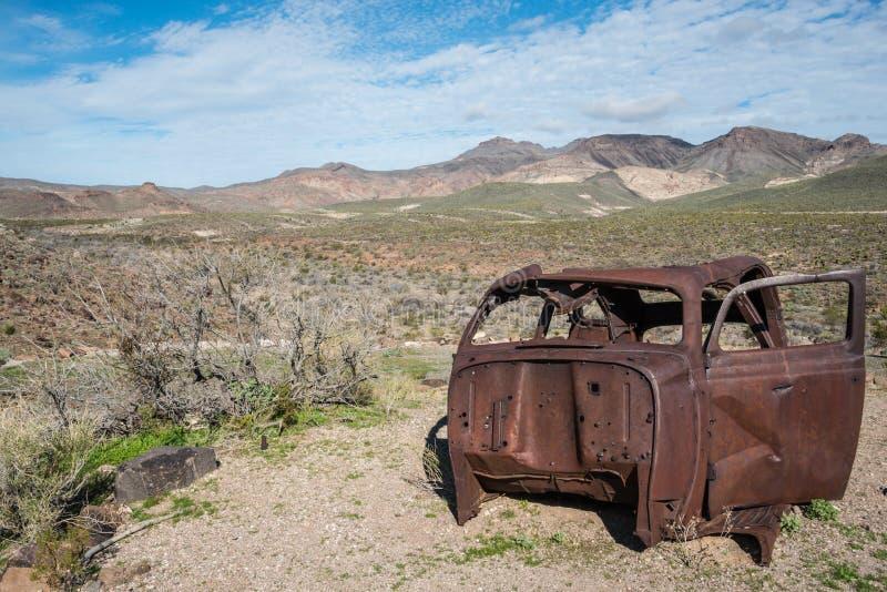 Oud wrak langs Route 66 royalty-vrije stock foto