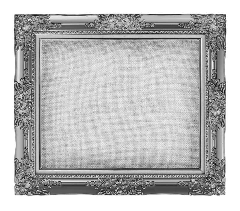 oud zilveren kader met het lege canvas van het grungelinnen voor uw beeld royalty-vrije stock foto