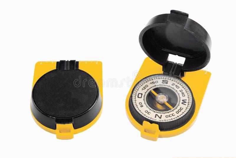 Oud zwart geel kompas stock afbeelding