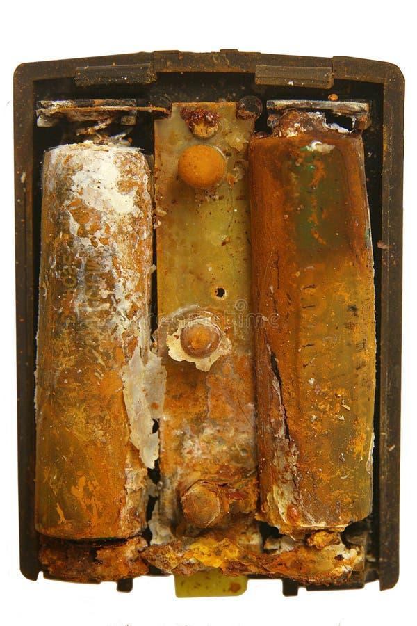 Oude aangetaste batterijcellen royalty-vrije stock afbeelding