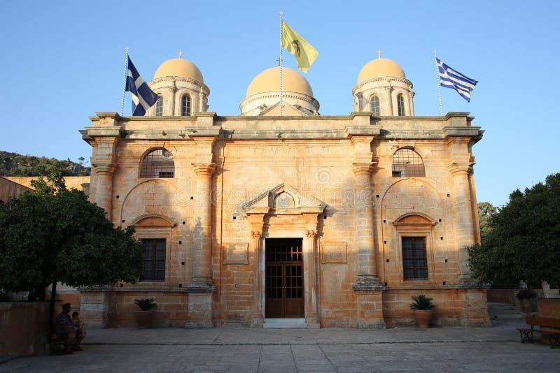 Oude Abbey Moni Agia Triada op het Eiland van Kreta, Griekenland stock afbeeldingen