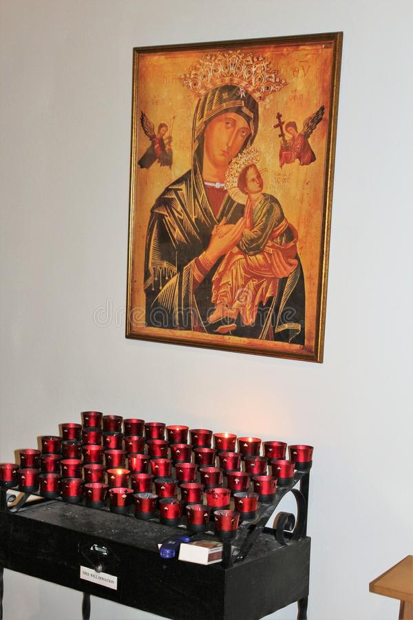 Oude Adobe-Opdracht, Onze Dame van Eeuwige Hulp Katholieke Kerk, Scottsdale, Arizona, Verenigde Staten stock foto's