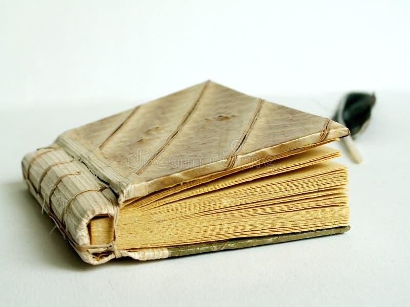 Oude agenda en het schrijven veer stock fotografie