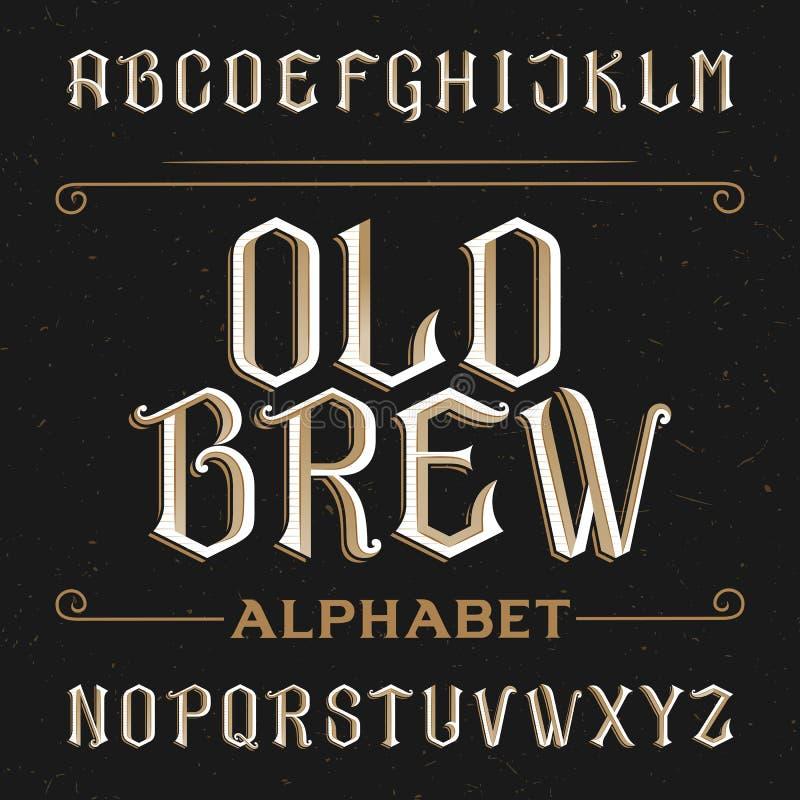 Oude alfabet vectordoopvont stock illustratie